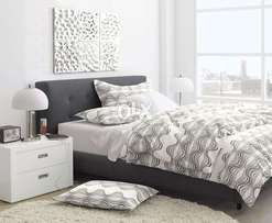 Dark Grey King size Bed with Side tables.