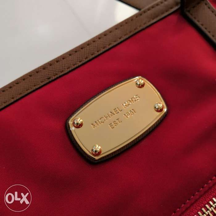 SALE Authentic Michael Kors Montauk Kempton Red Medium Nylon Tote Bag ... 95ee4dc783358