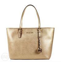 392b7fae8259a3 AUTHENTIC Michael Kors Jet Set Travel TZ Leather Tote Bag Pale Gold