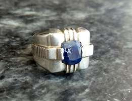 Natural royal blue sapphire neelam silver ring
