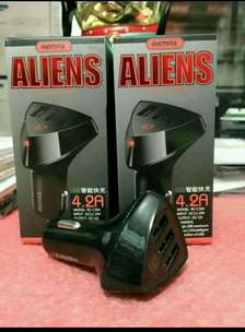 saver kepala charger di mobil remax 3 usb aliens 4.2A