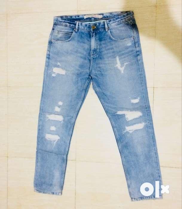 517f9a2a Zara men Blue Denim Distressed Denim Jeans - Men - 1309498197