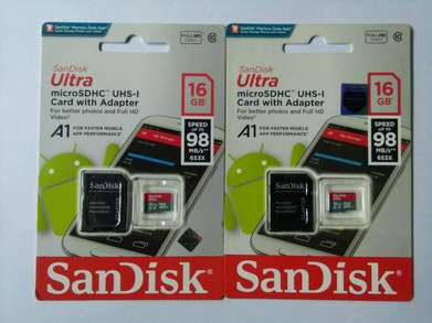 Sandisk 16Gb speed98Mb + adapter