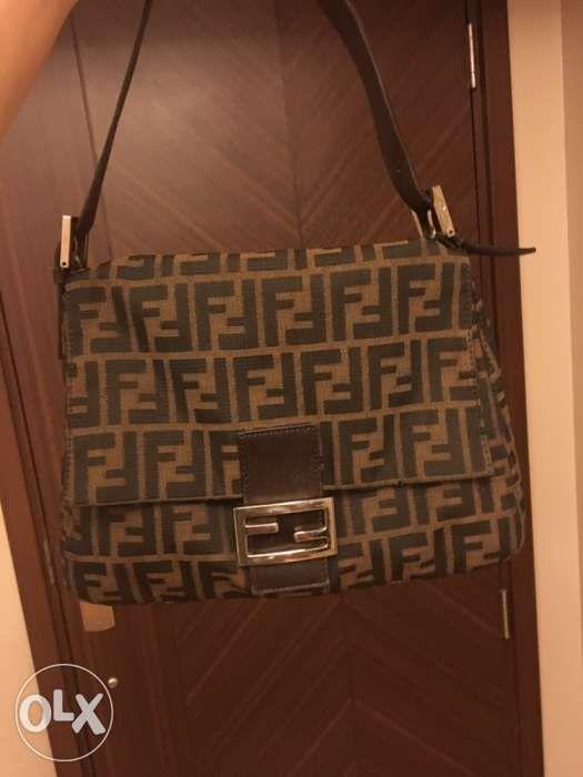 93965571d9a8 Authentic Fendi Zucca Mama Forever Baguette Shoulder Bag in ...