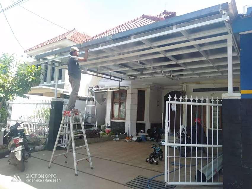 Canopy Hasil Kerja Sendiri Bahan Rangka Besi Hollow Galvanis