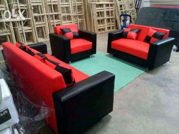 Erafurniture Sofa Minimalis Hitam Merah 321 Set 6 Bantal Motif