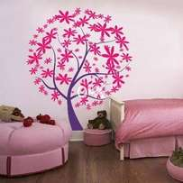 Large flower wall stencils painting on wall