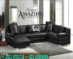 New modern U shape sofa six seater | imported leatheright.