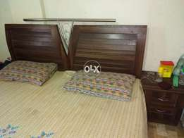 Full size bed with mattress and 2 side tables