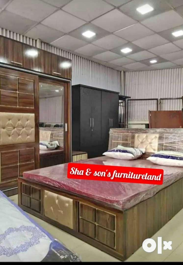 New Bedroom Set Sliding Door Wardrobe Antique Look Bedroom Furniture Beds Wardrobes 1628578135