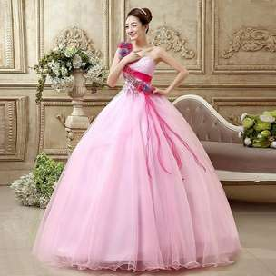 Open PO gaun pink princess simple ball gown