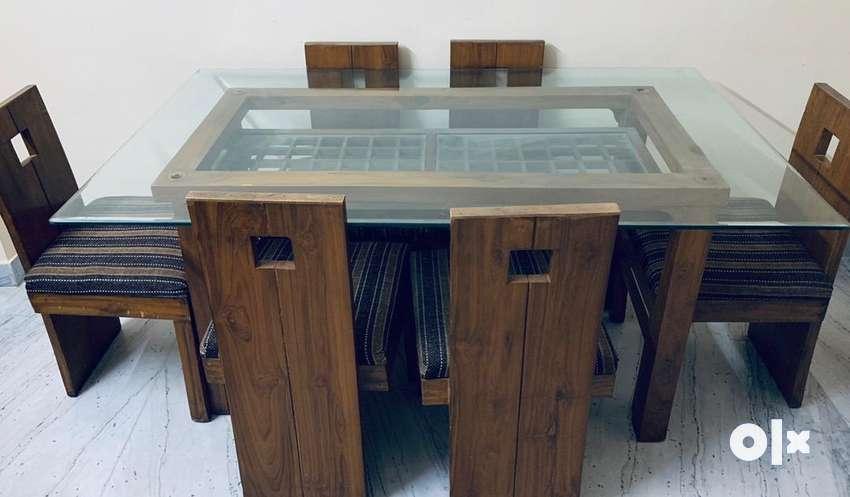 Six Seater Teak Wood Glass Top Dining Table Set Sofa Dining 1529090484