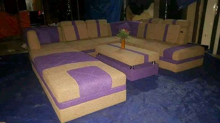 Erafurniture Sofa U New Modena Coklat Muda Ungu Bantal Meja