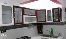 Red n white Powder Coating Aluminum Kitchen with complete installation