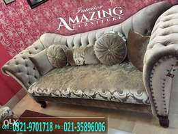 New Chester fields style sofa seven seater in fabric .