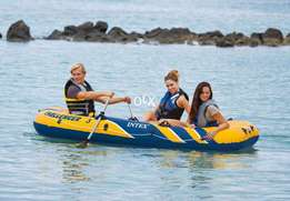 Intex Challenger 3 Inflatable Raft Boat Set With Pump And Oars