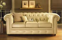 Round arm chesterfield sofa in Leather