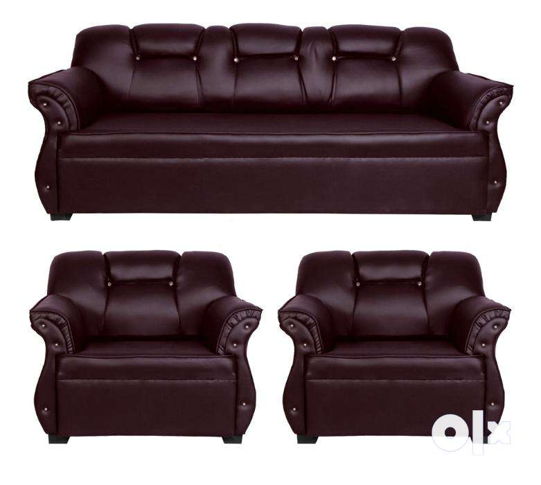 brown leatherette 3 1 1 sofa set brand new free delivery delhi
