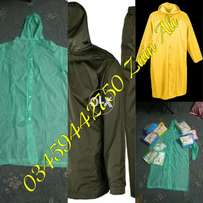 raincoats and rain jackets available in different colors and sizes and