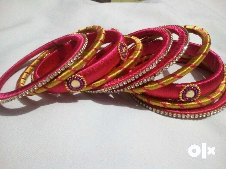 Hand made silk thread bangles pink with golden - Chennai - Fashion ...