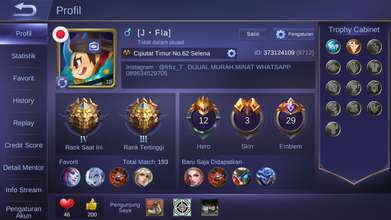 Jual Akun ML Rank Legend Murah