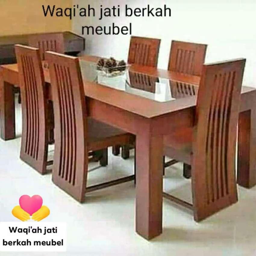 Meja Makan Minimalis Modern Mewah K 6 Bahan Kayu Jati Tua Asli Mebel 810647339