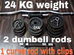 weight plates , dumbell rods , bicep rod