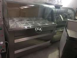 Salid bar cooling system with imported boules,pizza ovens,hot plates