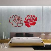 Acrylic rose flower pair for wall decor