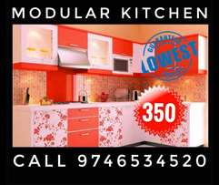 White And Green Wooden Floral Kitchen Set Paravur Furniture