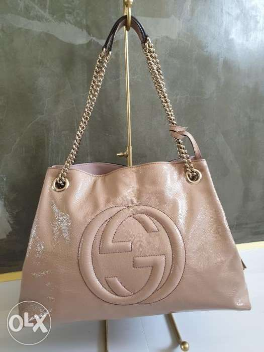 ebe7670095a 100% Authentic GUCCI Patent Calfskin Soho Bag Nude Pink 146780 in ...