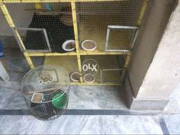 Birds cage for sale 4 portion iron