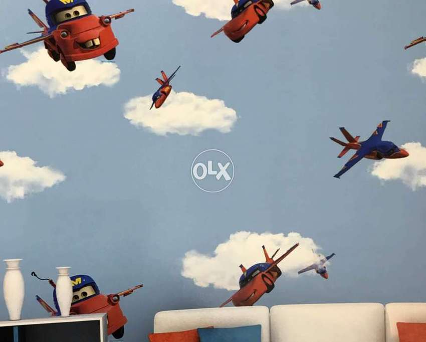 A Aeroplane And Car Wallpaper Design For Kids Room Home