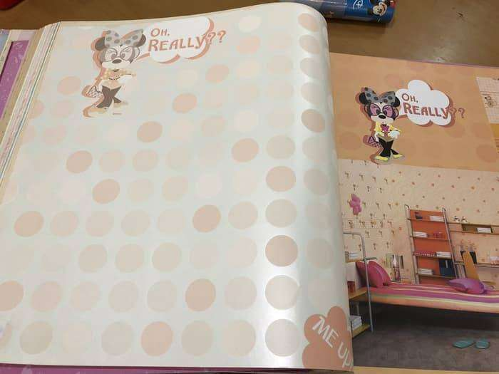 Wallpaper Dinding Mickey Mouse Minnie Mouse Polkadot Pink Orange