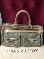 c81637b364 Louis Vuitton Neo Speedy Hand Bag Monogram Denim Green 100 AUTHENTIC