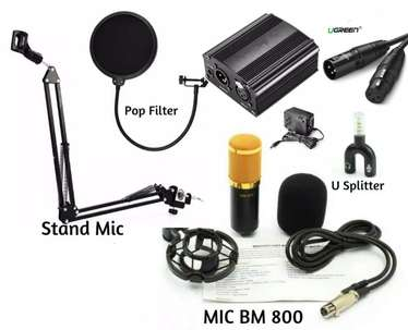 Paket Home Recording microphone BM 800 stand mic Phantom Power +48V
