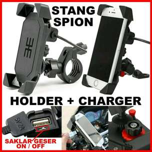 3E X Holder HP Motor + Charger Handphone 2 in 1 Spion Stang On Off