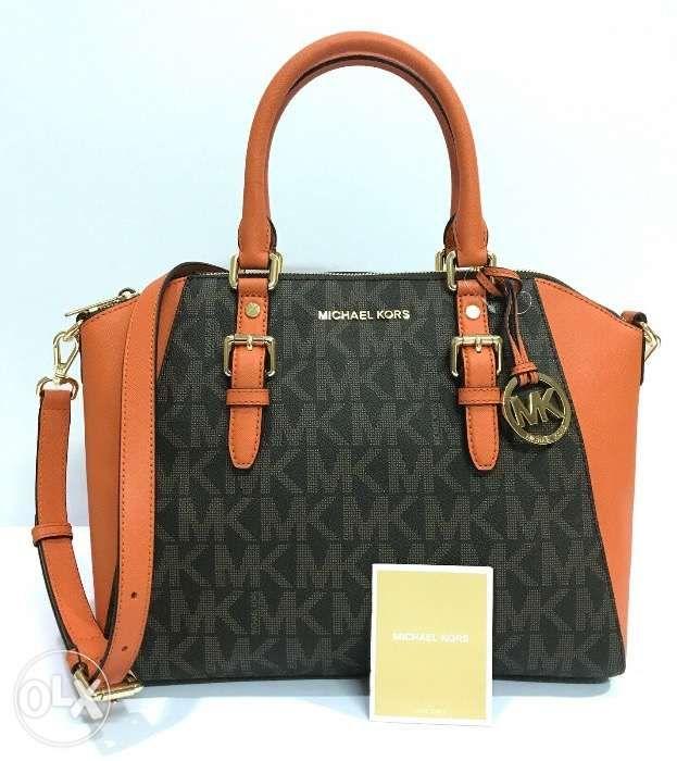 99c88339c554 AUTHENTIC Michael Kors Ciara LG TZ Leather Satchel Bag Brown Tangerine ...