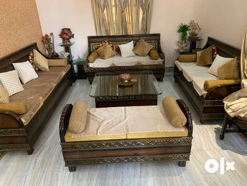 Teak Wood 12 Seater Sofa Set With 8