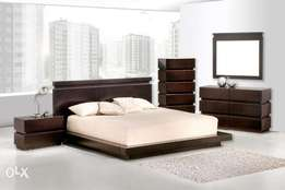 wooden jheri low height bed set complete