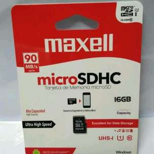 MicroSDHC Maxell 16GB Class 10 UHS-1 Speed Up To 90MB/s