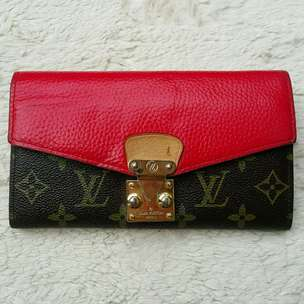 Dompet import eks LOUIS VUITTON monogram mix kulit asli merah mewah