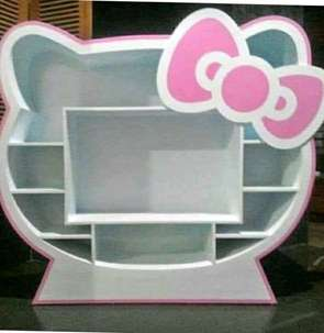 lemari tv hello kitty minimalis