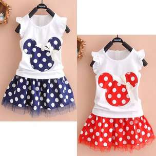 Rok kaos minnie merah n navy 1-4 th.import