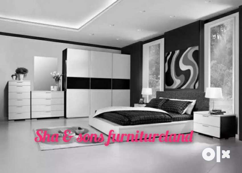 New Plywood Bedroom Set Black N White, White Bedrrom Furniture