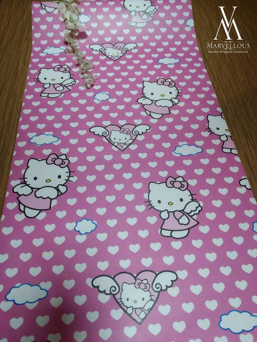 Wallpaper Dinding Stiker Motif Hello Kitty Pink 45 Cm X 10 M Dekorasi Rumah 790615086