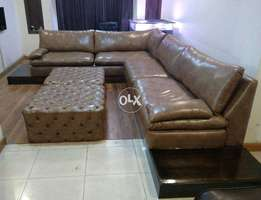 L shape sofa export quality 9 seater ( leather ) with side tables