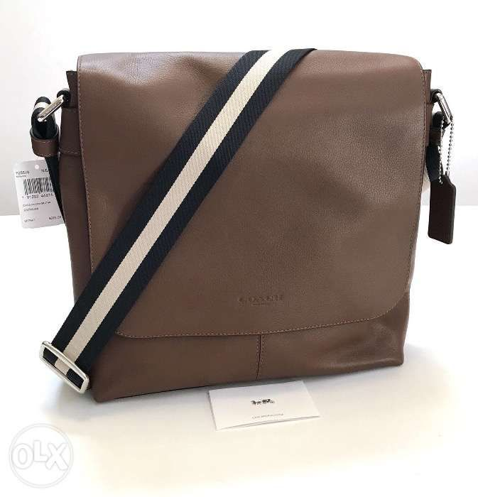 ... AUTHENTIC Coach Mens Bag F28576 NISAD Small Messenger Brown Leather ... 4d901897c89ce