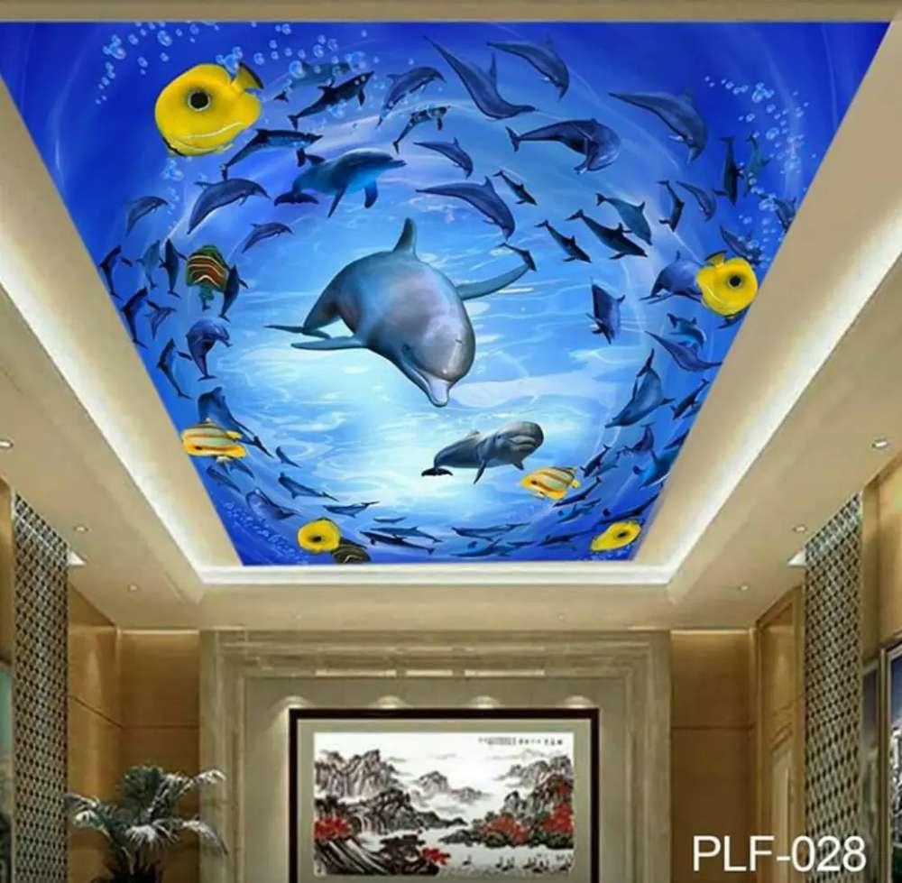 Wallpaper 3D Untuk Plafon Rumah Motif Pemandangan Laut Seri 1