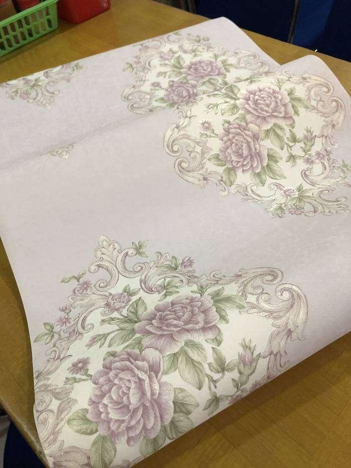 Wallpaper Dinding Murah Bunga Shabby Ungu Cream Klasik